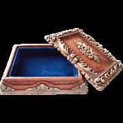 Vintage 1930s 40s Syroco Box Molded Pressed Wood Blue Velvet Lining