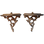 Vintage Syroco Wood Brackets Sconces Wall Shelves Pair Gold