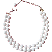 Vintage 1930s 1940s Regina Fashions White Glass Necklace 2 Strand Beads Brass