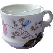 Antique Shaving Mug Hand Painted China Pink Blue White Insect Flowers