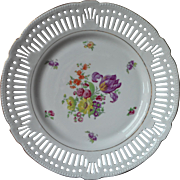 Vintage Bavarian Reticulated Pierced Dessert Serving Plate China Flowers