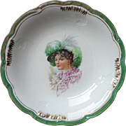 Antique China Portrait Bowl Serving Lady In Feathers Hat Ruffles