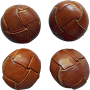 Vintage Leather Knot Coat Buttons Set 4 Caramel Brown Color