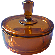 Vintage Art Deco Vanity Jar Box Amber Glass New Martinsville Powder