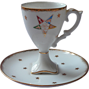 Eastern Star Vintage 1950s Cup Saucer China High Pedestal Demitasse Cabinet