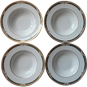 Royal Doulton Forsyth 4 Rimmed Soup Bowls English Bone China Vintage