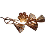 Vintage Filigree Pin Leaves Canetille Flower Spray