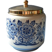 Dutch Humidor Tobacco Jar Delft China Goedewaagen Vintage