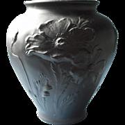 Vintage Tiffin Black Amethyst Satin Glass Poppy Poppies Vase Big 8.5 Inch - Red Tag Sale Item