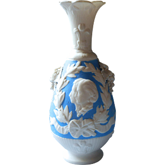Antique Parian Vase Blue Wedding Edward VII Alexandra Of Denmark