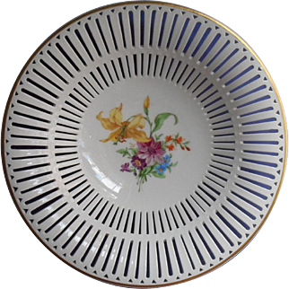 KPM Reticulated Bowl Hand Painted Flowers China Vintage Can Be Hung