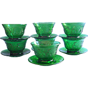 Vintage Sandwich Anchor Hocking Forest Green Custard Cups Liners Plates Glass Set Holiday Table