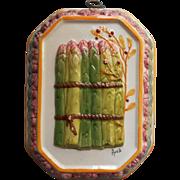 Vintage Italian Majolica Asparagus Decorative Mold Pottery Bassano ABC