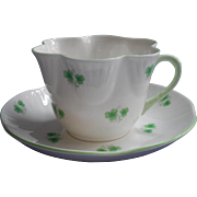 Shamrocks Crown Staffordshire Vintage Cup Saucer Bone China English