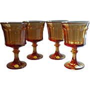 Vintage Oneida Amber Glass Goblets Entree 1574 Unused Set 4