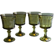 Vintage Oneida Avocado Green Glass Goblets Entree 1574 Unused Set 4