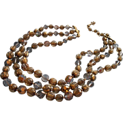 Vintage Vendome Glass Beads Necklace 3 Strand Smoke Gold Color Needs Hook