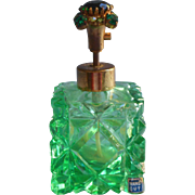 Vintage Perfume Bottle Green Cut Glass Jeweled Top