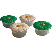 Vintage 1960s Salt Pepper Shakers Plastic Flowers Daisies Green White