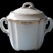 Big Elite Limoges Antique Sugar Bowl Gold White French China