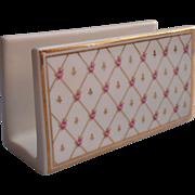 Porcelain Letter Rack Vintage Pink Rossebuds Gold Desk Accessory