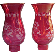 Pair Cranberry Flash Stain Glass Hurricane Shades Vintage Cut Decoration 6.75 Inch