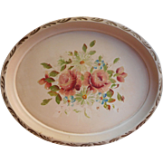 Vintage Tole Tryta Hand Painted Pretty Pale Pastels Pink Roses Cream