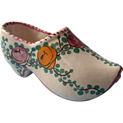 Vintage French Faience Shoe Pottery Pink Hand Painted