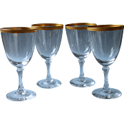 Lenox Tuxedo 4 Crystal Wine Glasses Gold Encrusted Rims Vintage
