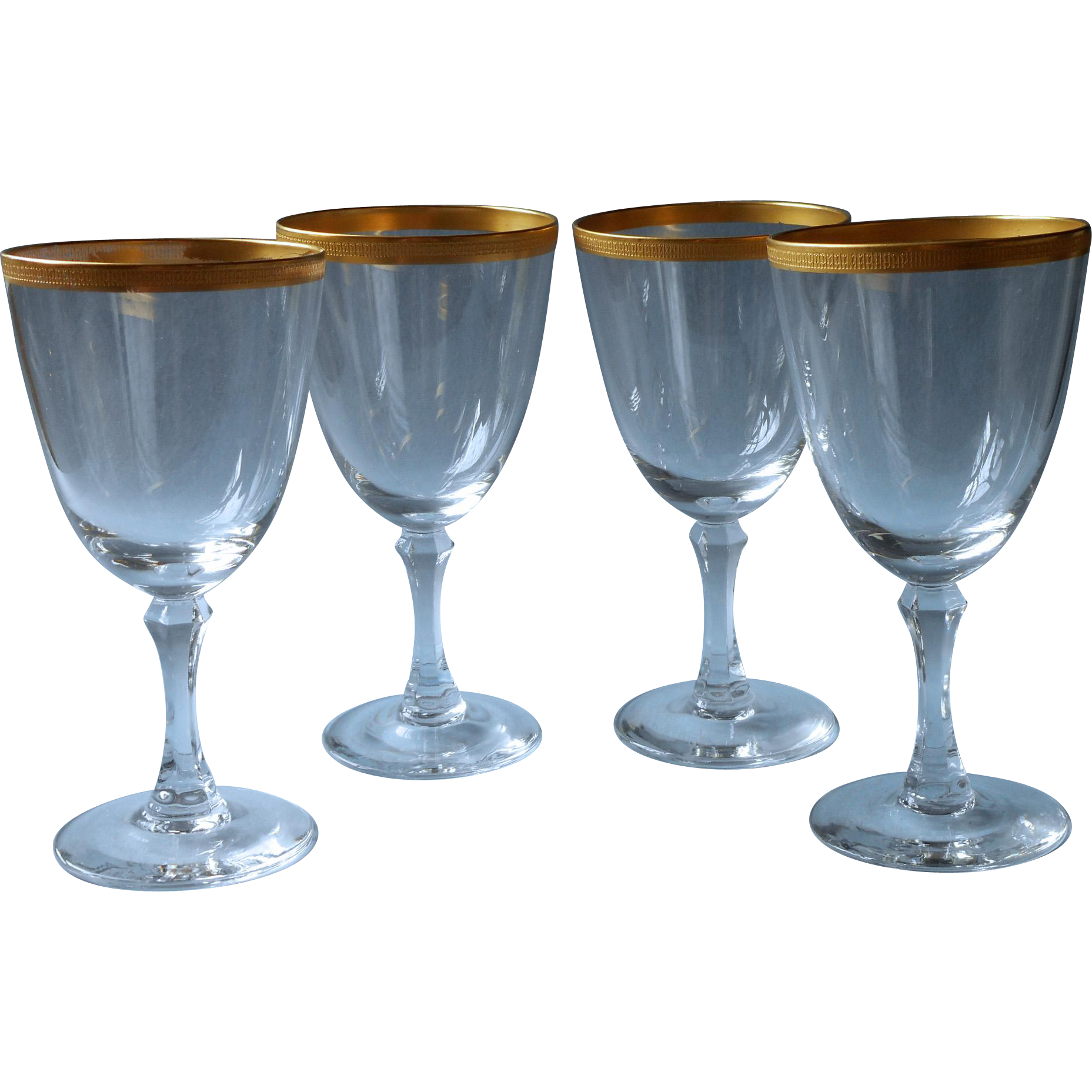 lenox tuxedo 4 crystal wine glasses gold encrusted rims vintage