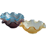 Midcentury Italian Bowls Ruffled Colony Glass Finger Dessert Turquoise Blue Pink Amethyst Amber
