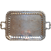 Large Vintage Silver Plated Serving Tea Set Tray Handles Ornate
