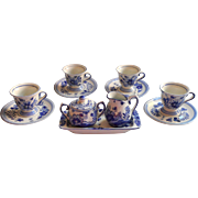 Vintage Delft Holland Delfts Blauw Hand Painted Demitasse Set Cups Saucers Creamer Sugar