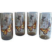 Vintage 1970s Anchor Hocking Butterflies Tumblers Glasses Smoke Set 4