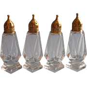 Vintage Brass Cut Glass Salt Pepper Shakers 2 Pairs Simple