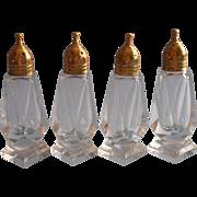 Vintage Brass Cut Glass Salt Pepper Shakers 2 Pairs Simple