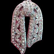 Vintage Fur Clip Rhinestone Draped Ribbon Motif