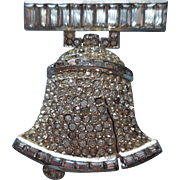Vintage Liberty Bell Rhinestone Pin