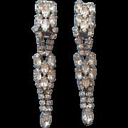 Vintage Long Rhinestone Drop Earrings Nice Quality
