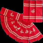 Cocktail Napkins Vintage South Amercian Type Cotton Red Set 10