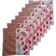 Vintage Cocktail Napkins Red Mocha Linen Print Set 8