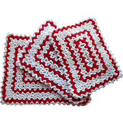 Vintage Hot Pads Trivets Potholders Red White Kitchen Crocheted Dense Ruffles - Red Tag Sale Item