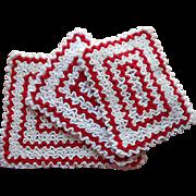 Vintage Hot Pads Trivets Potholders Red White Kitchen Crocheted Dense Ruffles