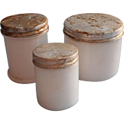 Vintage Salve Jars Milk Glass Zinc Lids Most Hazel Atlas Old Medician Cabinet