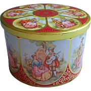 Vintage English Candy Tin Red Gold Lords Ladies Romantic Scenes
