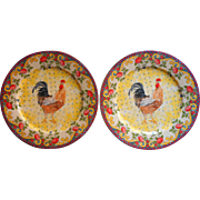 Petite Provence Rooster Dinner Plates 2 American Atelier 10.5 Inch