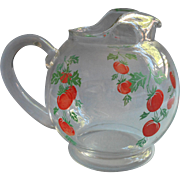 Vintage Glass Ball Juice Pitcher Tomatoes Red Green Kitchen