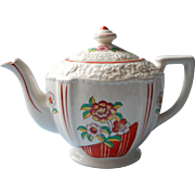 1930s Art Deco Teapot Red White China Japan Vintage Charming Molding and Decoration - Red Tag Sale Item