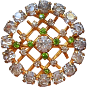 Edwardian Lace Pin Antique Faux Demantoid Garnets Faux Diamonds