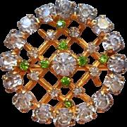 Edwardian Lace Pin Antique Faux Demantoid Garnets Faux Diamonds